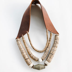 Fall 2019 Triple Leather Bib Necklace - Sea to Sand