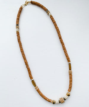 Tobacco Brown Beaded Lanyard