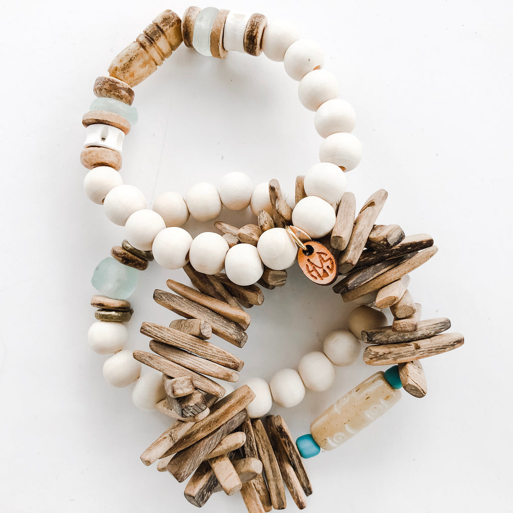 Triple Bracelet Stack in Neutrals and Seafoam