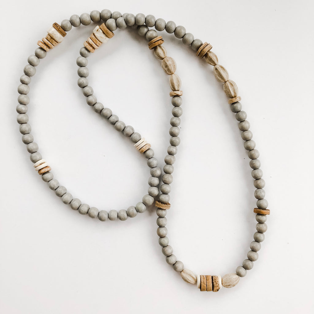 Beaded Allie Necklace in Fall Grey