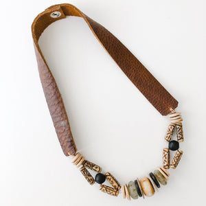 Sea to Sand Earth Tone Necklace | Leather Strap Layer Option #3