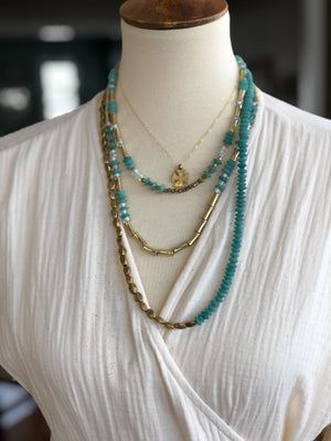Finer Things Necklace - Triple Strand Seafoam | Brass
