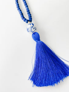 Fall Porcelain and Silk Tassel Necklace