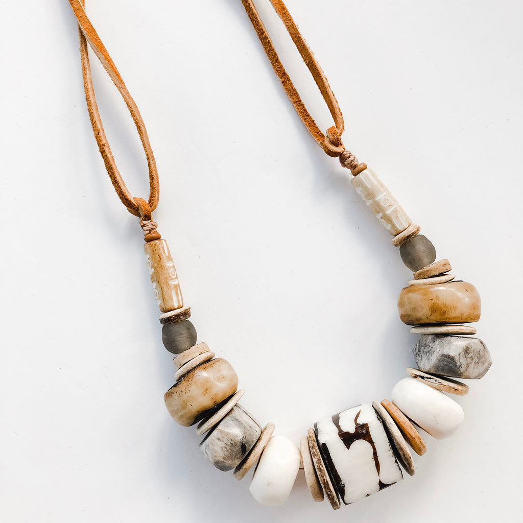 Clyda Necklace in Neutral Tones- Great Layering Piece