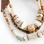 Sea to Sand Triple Leather Bib Necklace