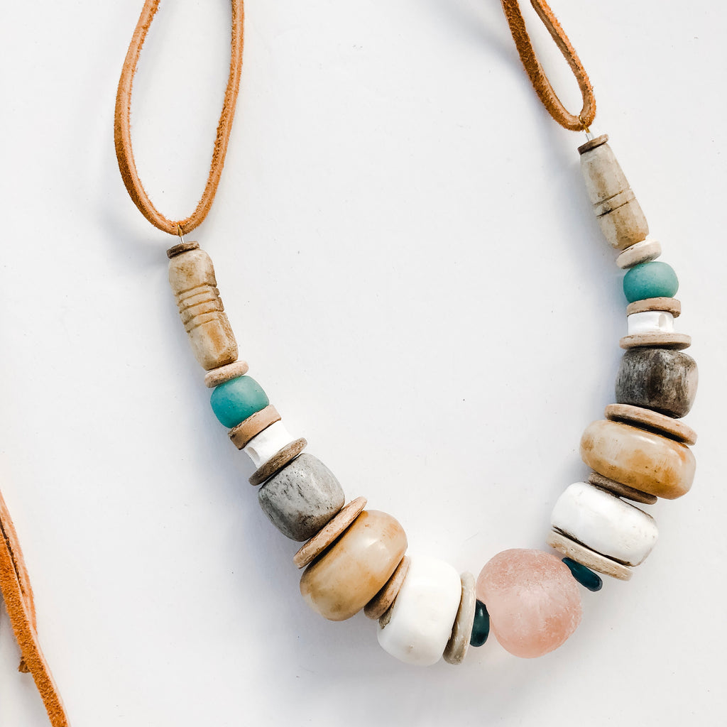 Clyda Necklace in Blush | Seafoam - Great Layering Piece