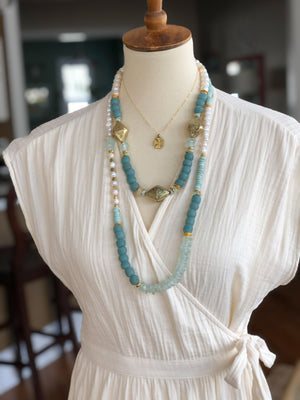 Finer Things Necklace - Seafoam | Brass | Pearls