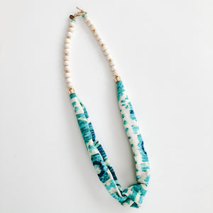 Sea to Sand Spring Scarf Necklace - Shades of Seafoam