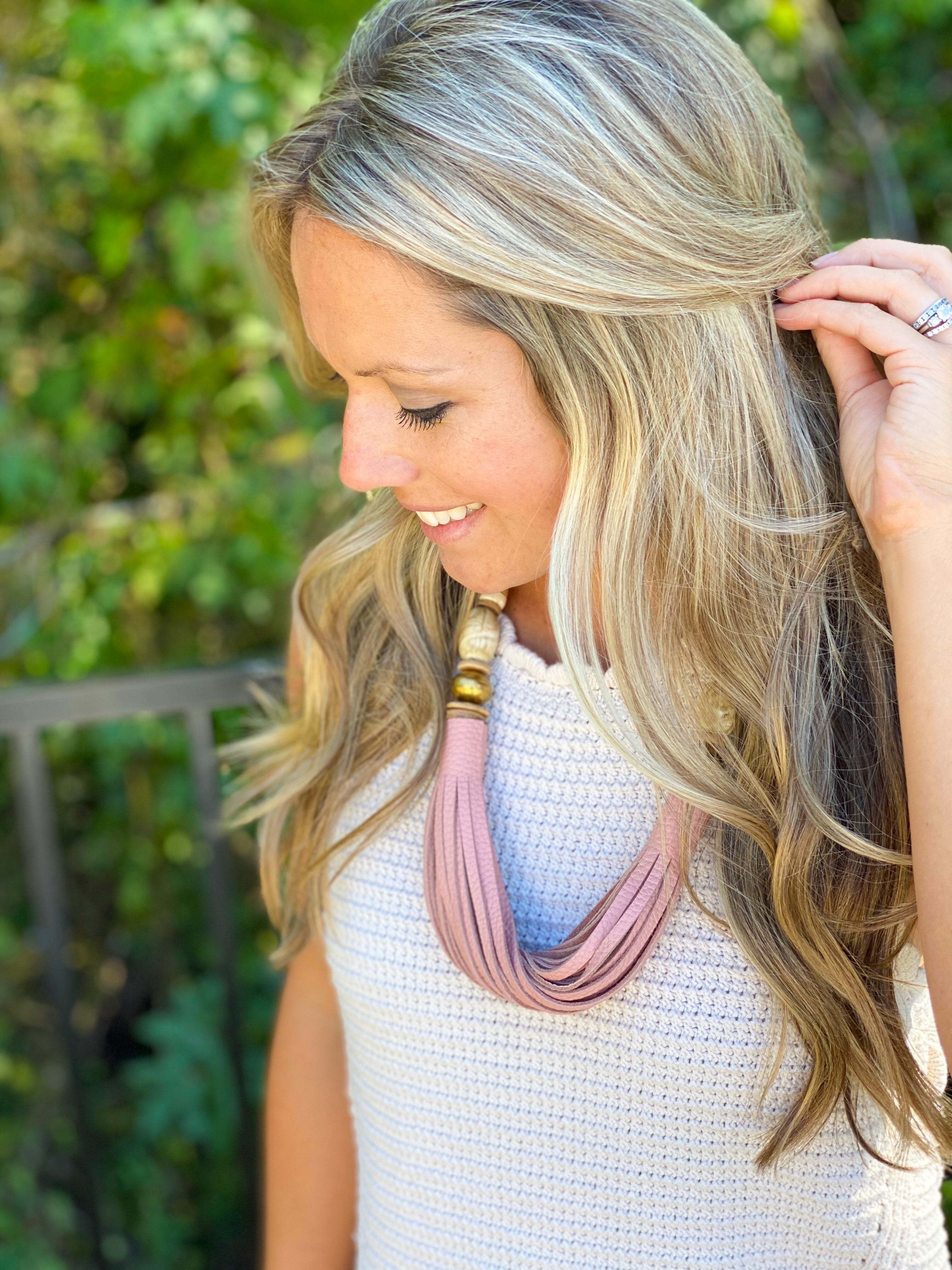 The Daly Necklace - Fall Blush Leather