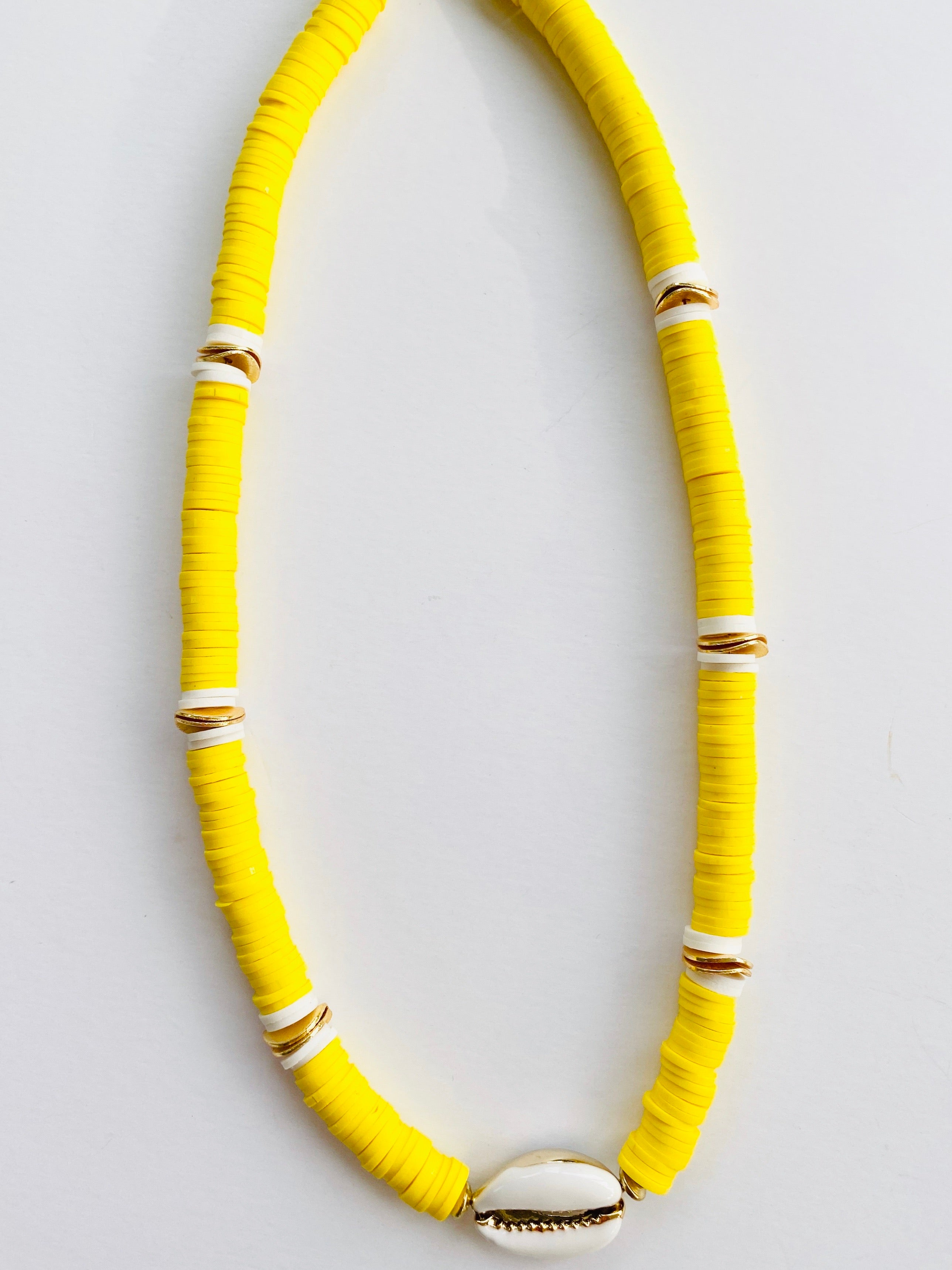 Summer Born to Be Wild Cowrie Necklace - Yellow + White Cowrie