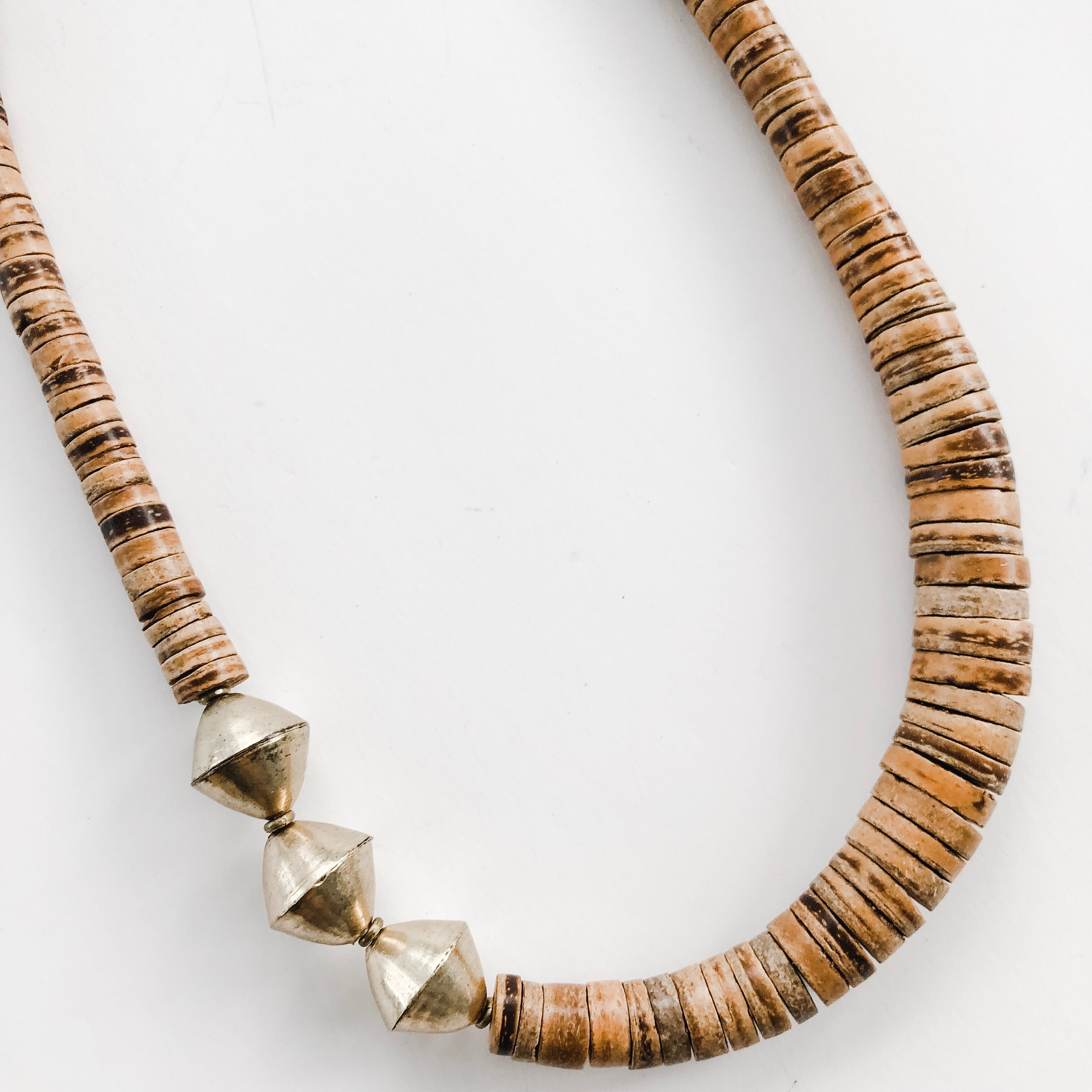 Simply Stated Coconut Necklace with Brass - A Fall Favorite
