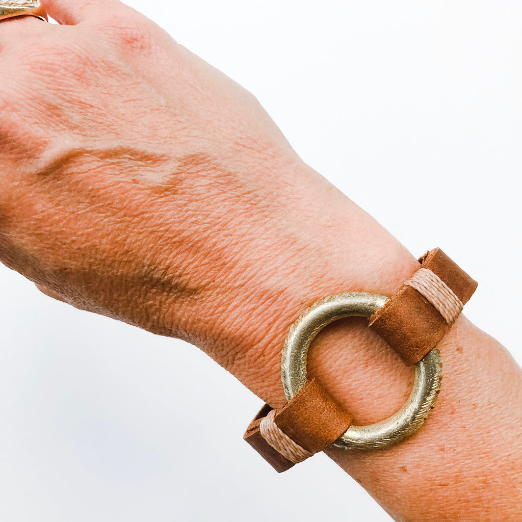 Skinny Cuff with Brass Ring- A HS Favorite