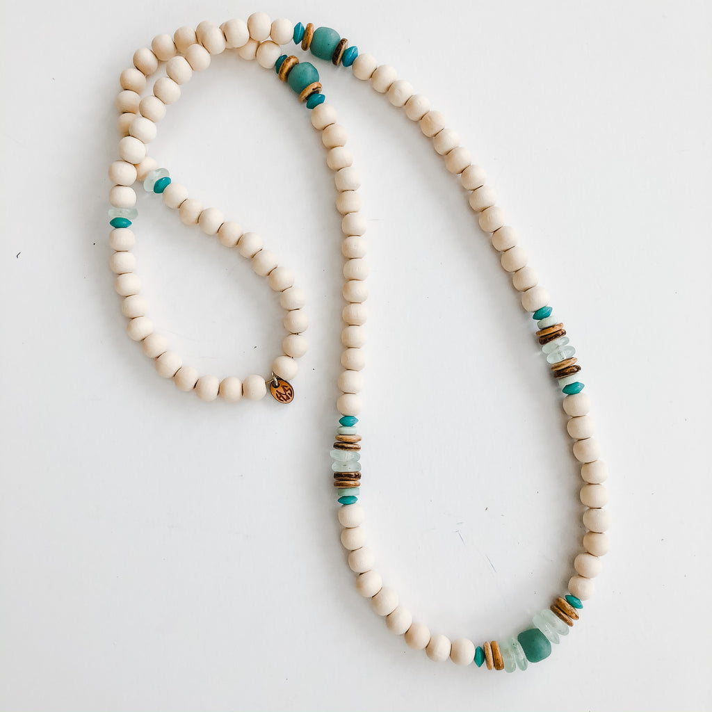 Beaded Allie Necklace in Seafoam - Spring Layering Option