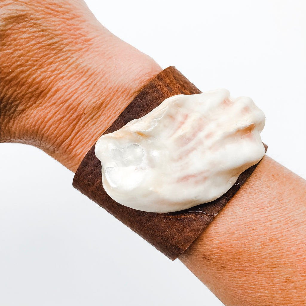 Oyster Leather Cuff - A Fall Favorite