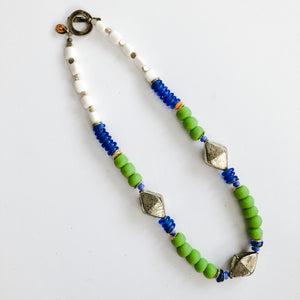 Finer Things Necklace - Green | Blue | Brass | Bone