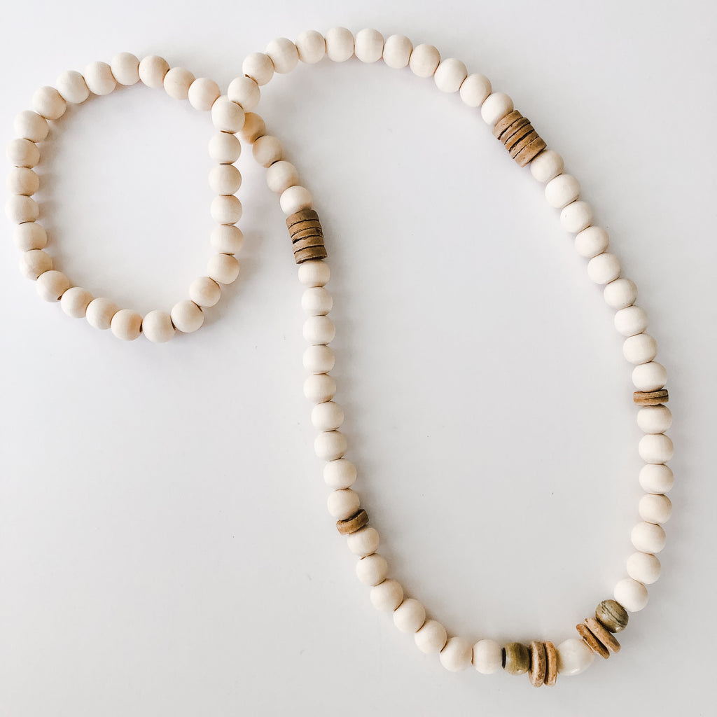 Beaded Allie Necklace in Summer Neutrals - Layering Option