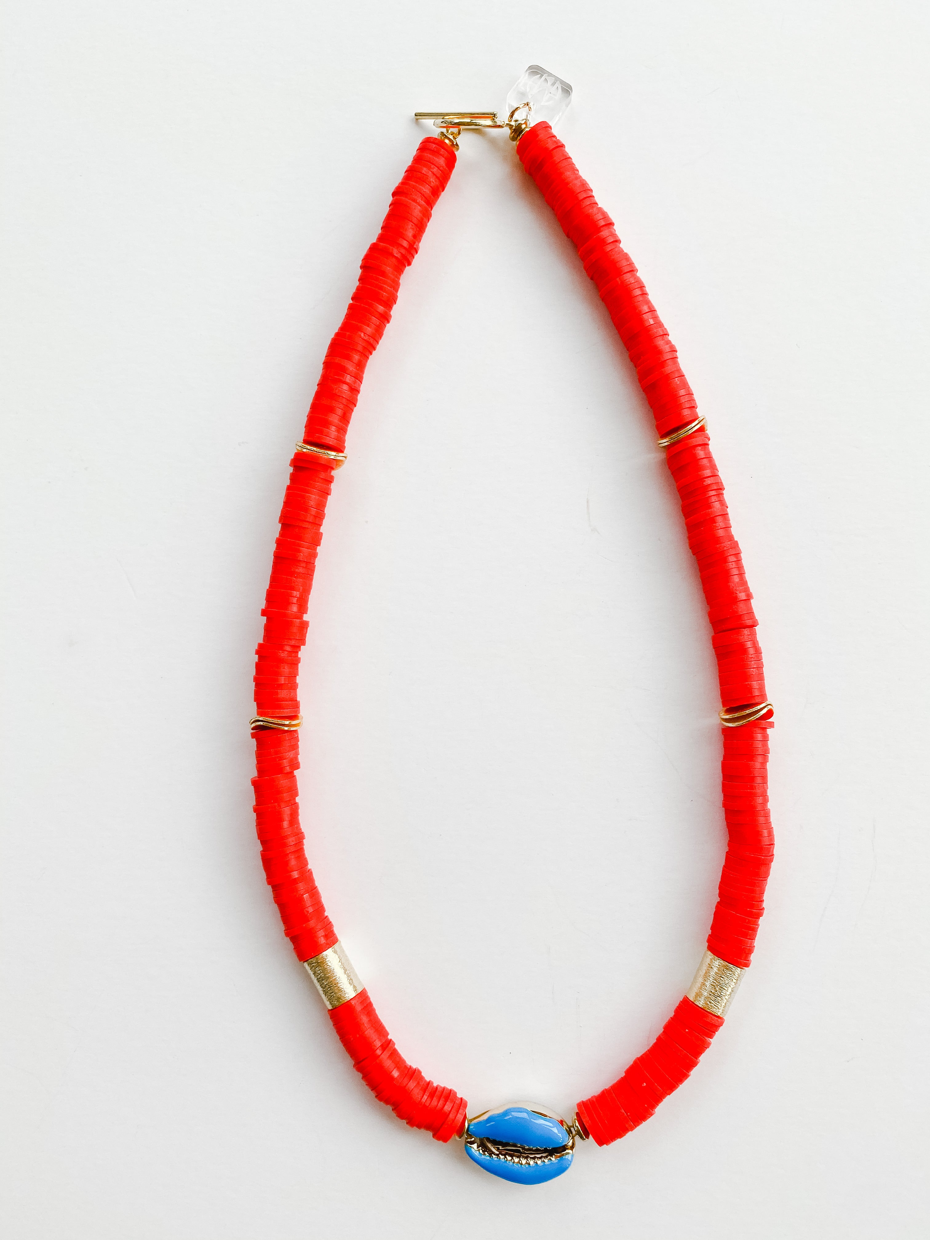 Summer Born to Be Wild Cowrie Necklace - Red + Blue Cowrie
