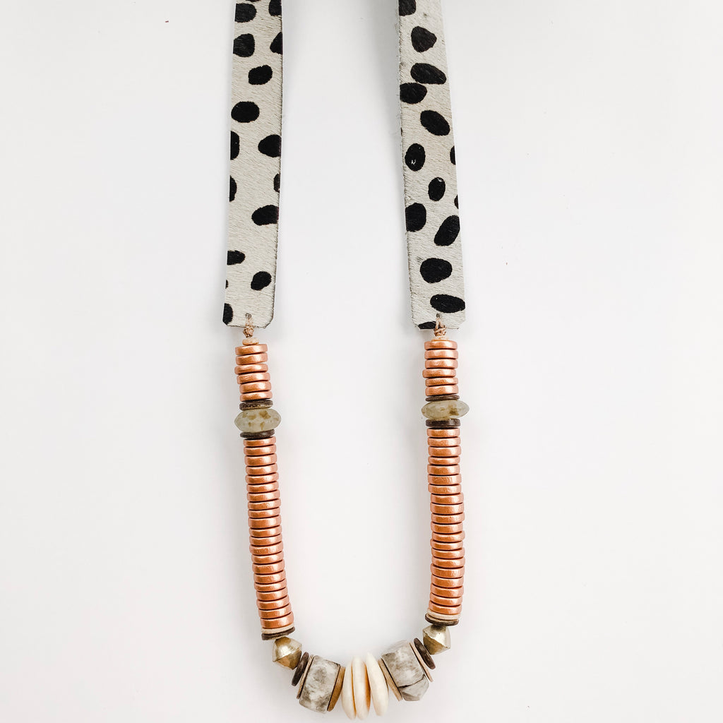 Allie Necklace in Bronze + Grey  | Cheetah Strap