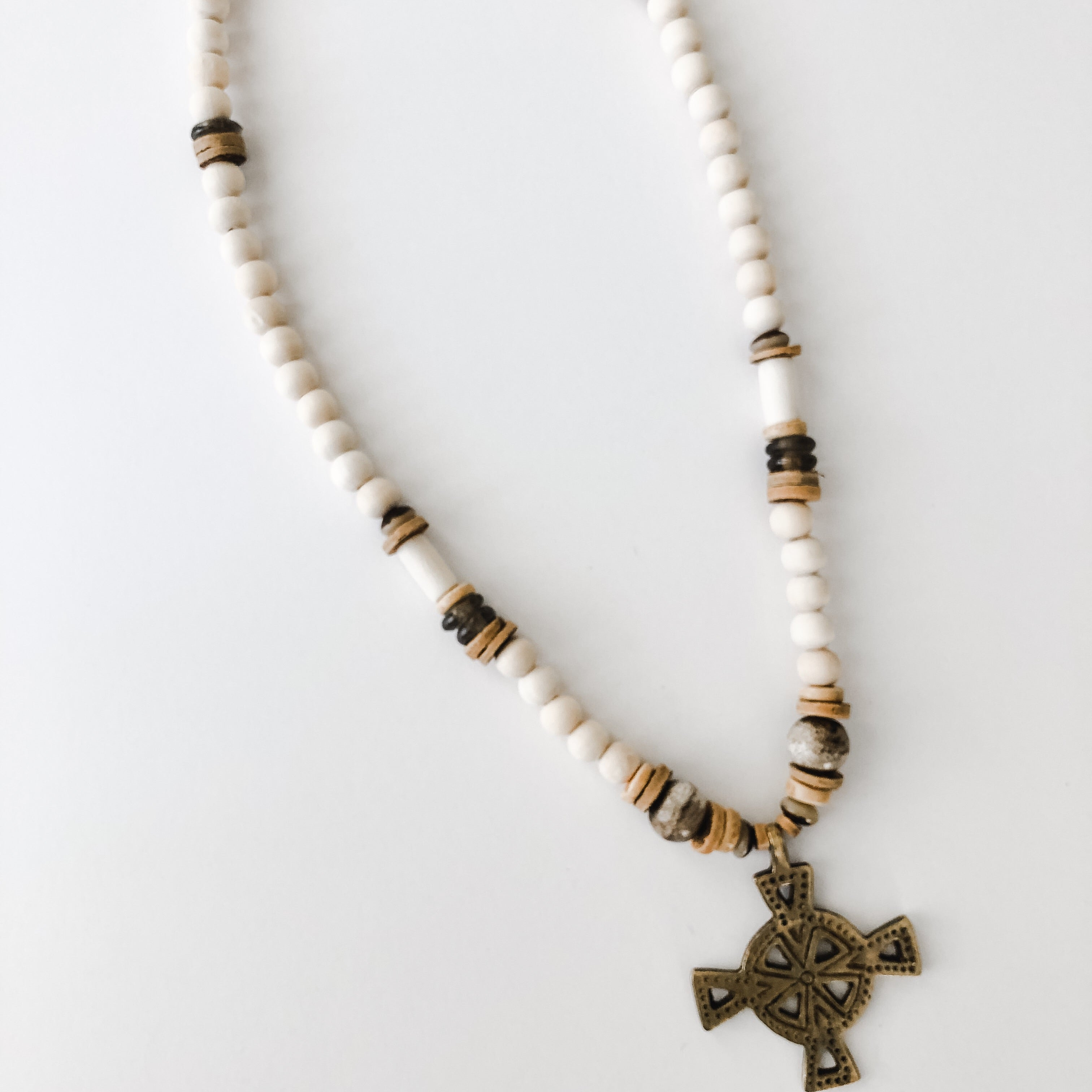 Neutral Beaded Brass Cross Pendant Necklace - Layer Option #2
