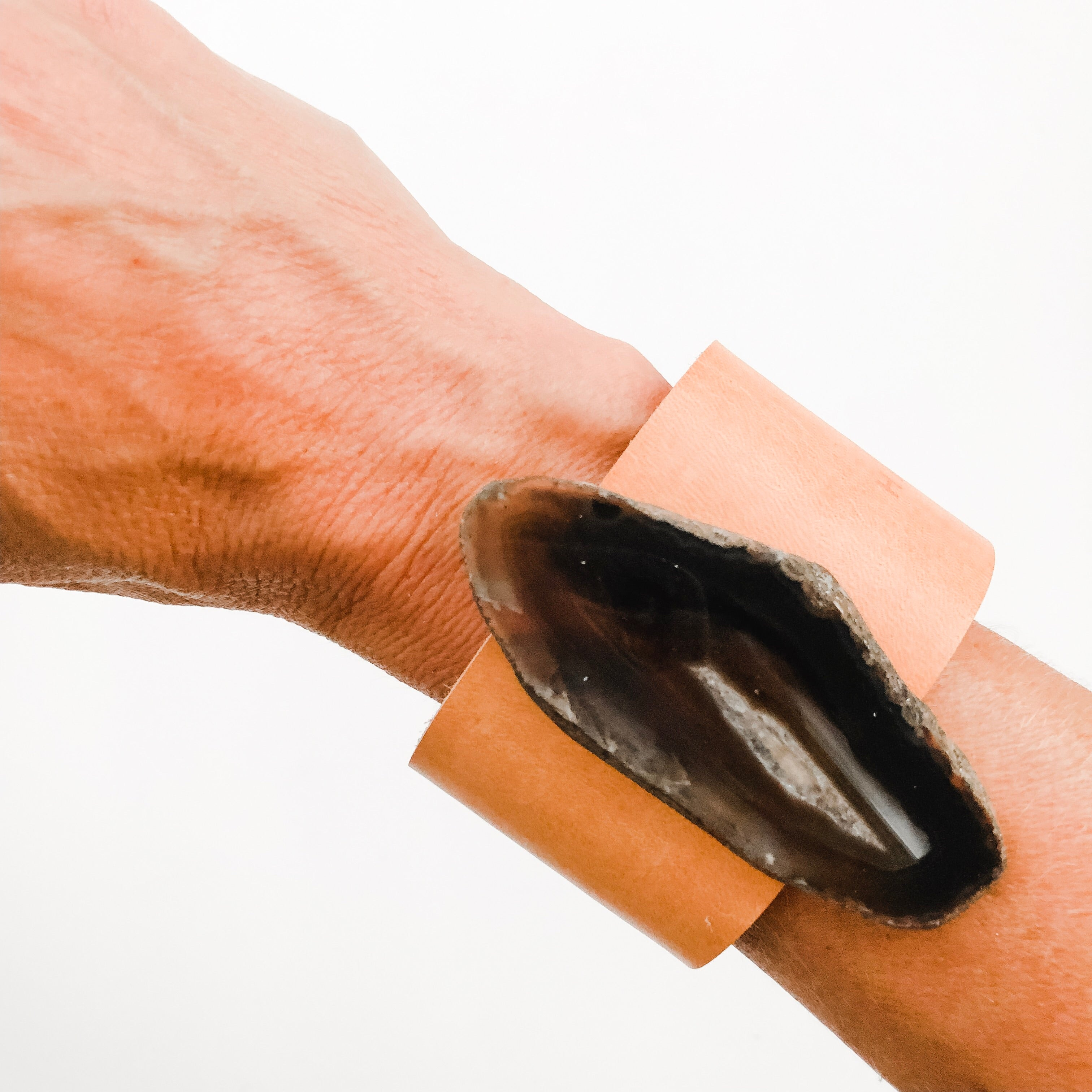 Leather Cuff with Grey Agate - A HS Favorite