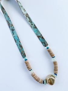 Simply Stated-  Turquoise Leather Strap Necklace with Shiny Brass
