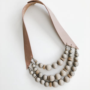 Sea to Sand Grey Bead Necklace| Spring Lavender Leather Strap