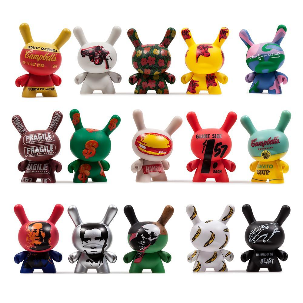 "Andy Warhol 3"" Dunny Blind Box Mini Series 2 by kidrobot Blind Box kidrobot Sealed Case of 24"