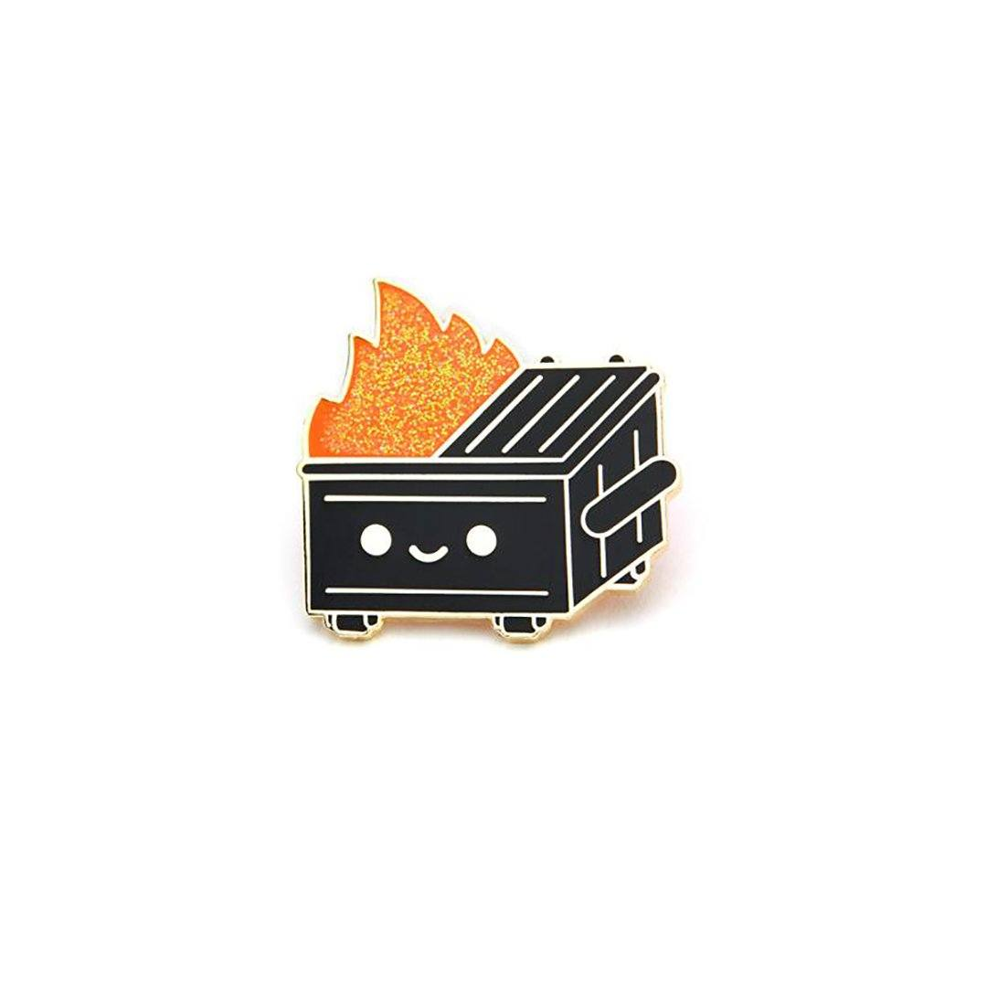 Dumpster Fire Black & Gold Enamel Pin by 100% Soft Enamel Pin 100% Soft