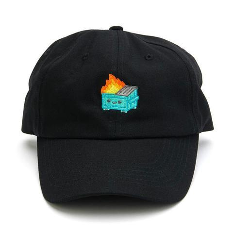 Dumpster Fire Dad Hat (Black) by 100% Soft Hats 100% Soft