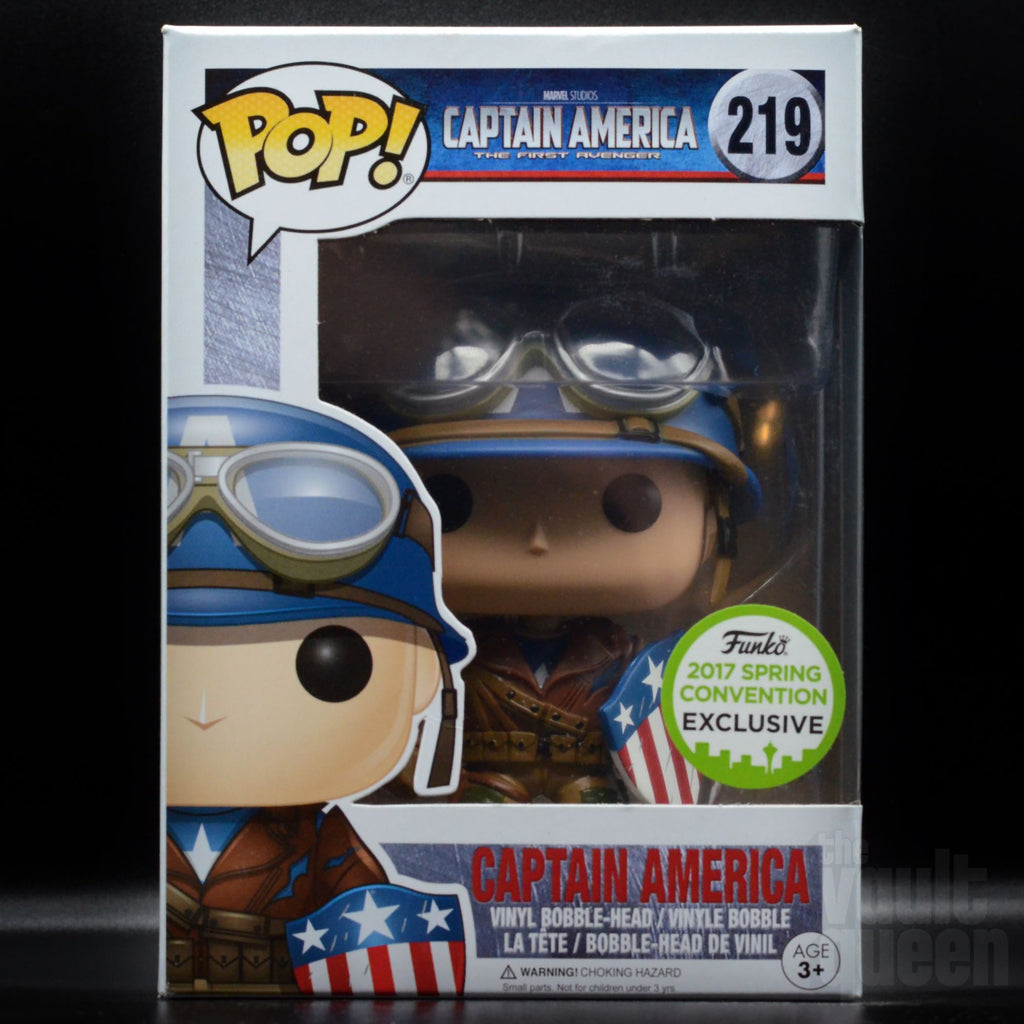 Funko Pop! Marvel Captain America (WW2) #219 ECCC 2017 Shared Exclusive Sticker Pop! Funko