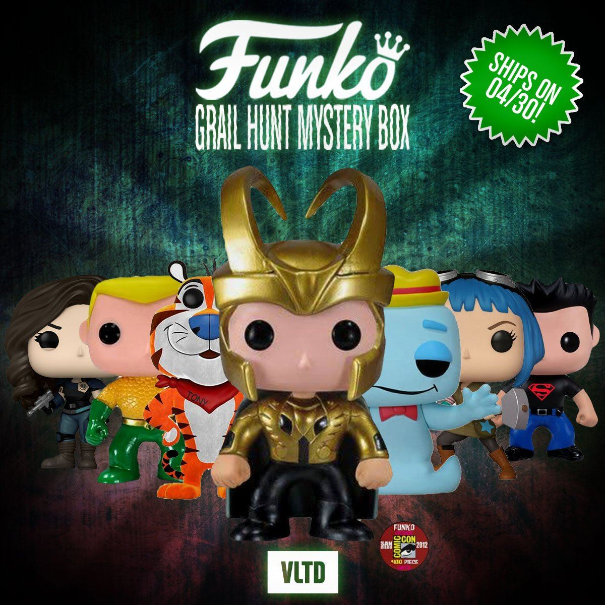 FUNKO POP! MYSTERY BOX: Prizes Can Include SDCC 2012 Exclusive Metallic Loki (LE480), Flocked Tony the Tiger (LE2000), OG Boo Berry, Aquaman (DC Universe), Superboy, ECCC Ramona Flowers & more! Mystery Box VLTD