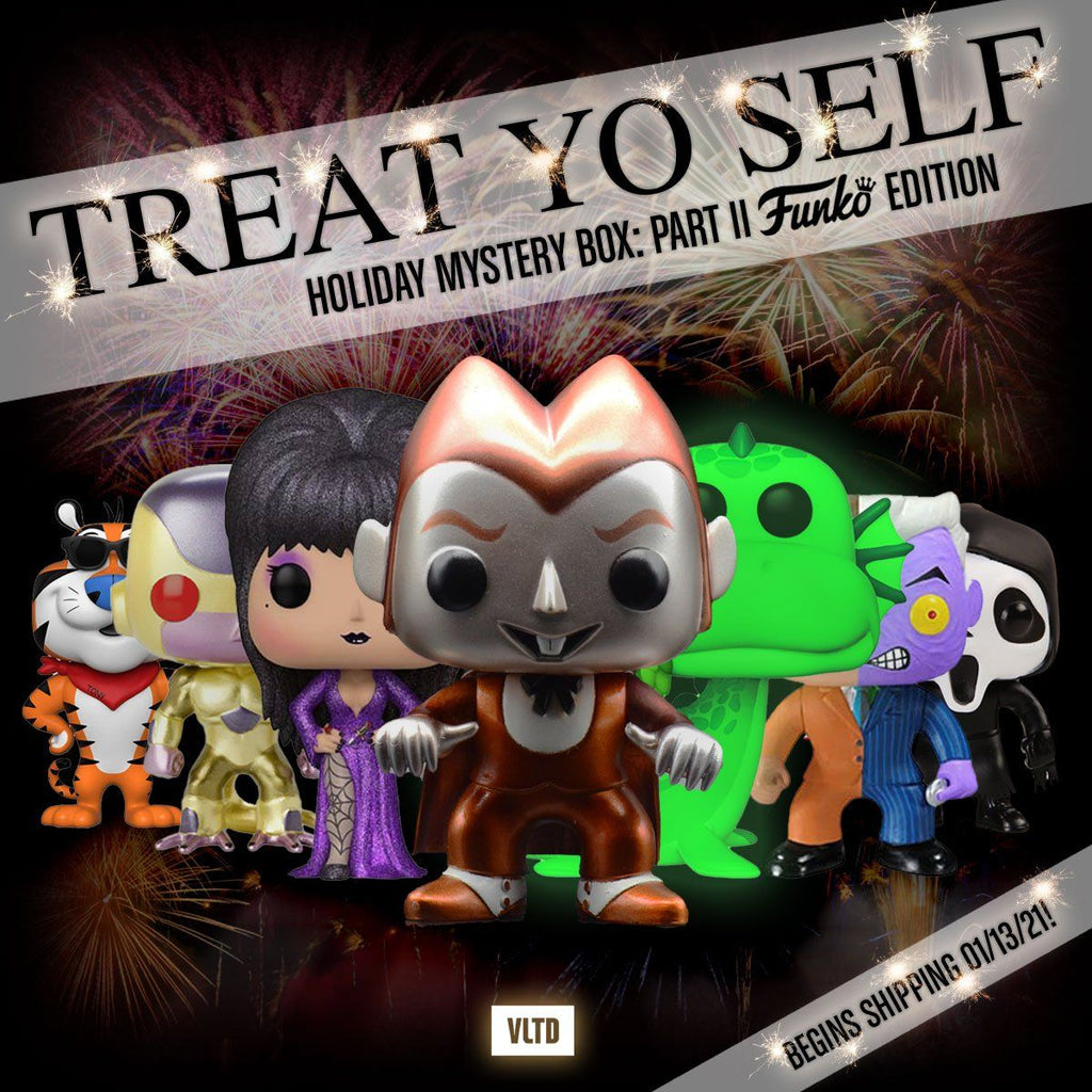 "MYSTERY BOX: ""Treat Yo Self"" End of 2020 Mystery Box: Part II - Funko POP Edition! Prizes Can Include Metallic Count Chocula, GID Loch Ness Monster, Frieza (Red Eyes), Two Face, Elvira Diamond Edition & more! Mystery Box VLTD"