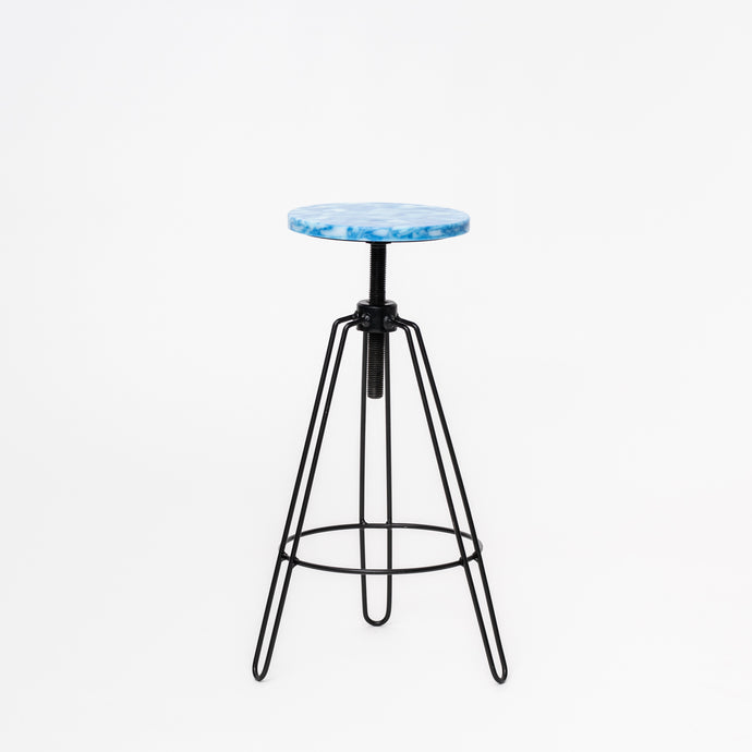 Bar Stool - Marbled Blue