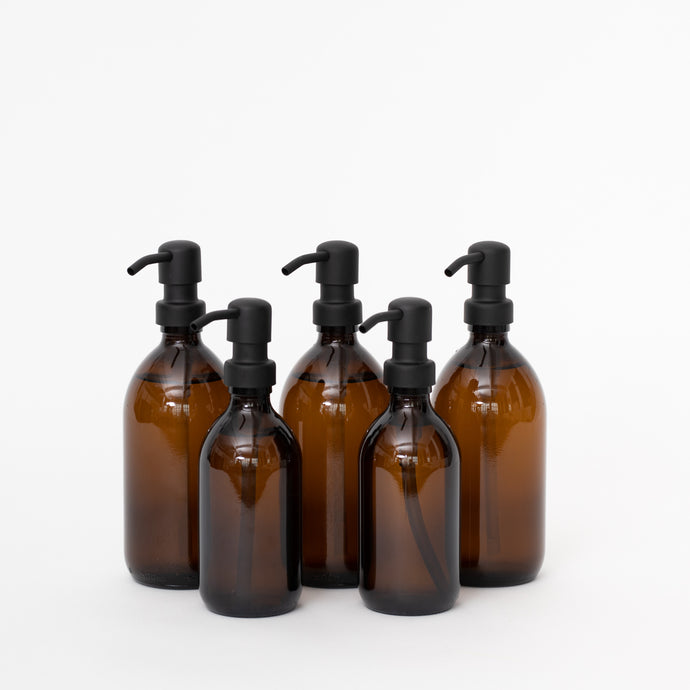 Amber Glass Bottles - Black