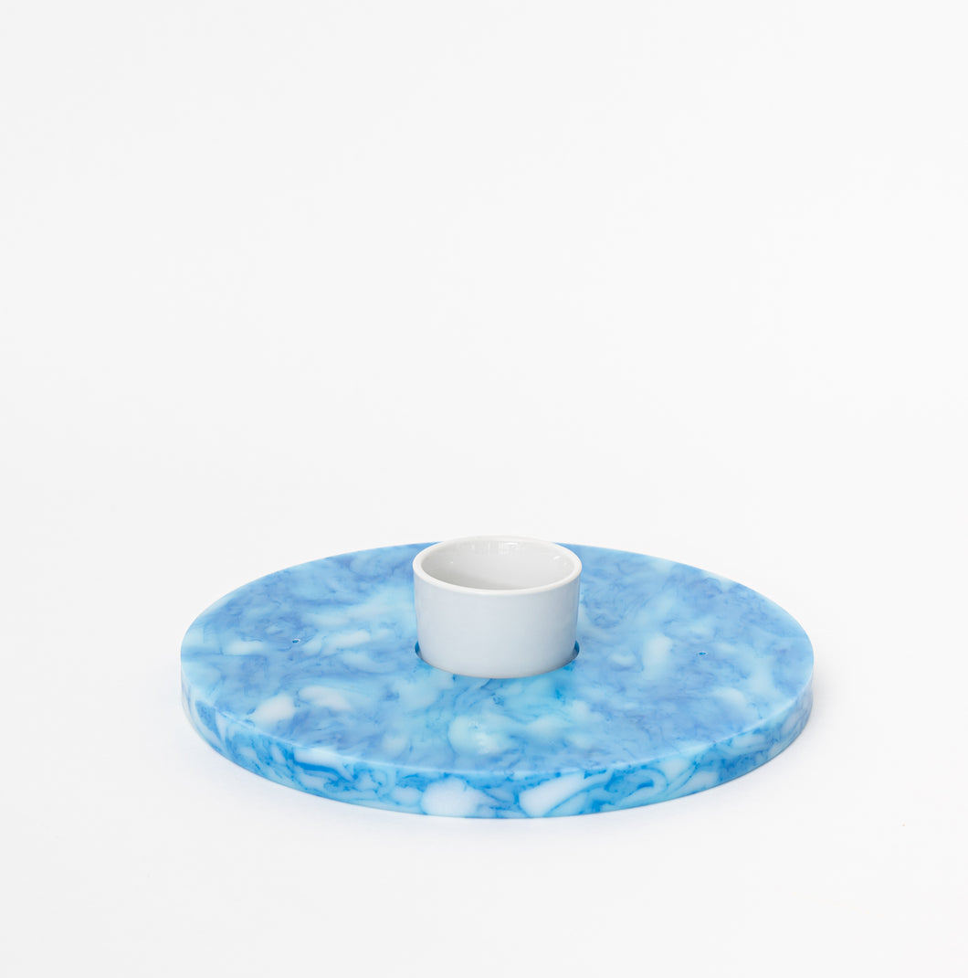 Round Serving Platter - Marbled Blue