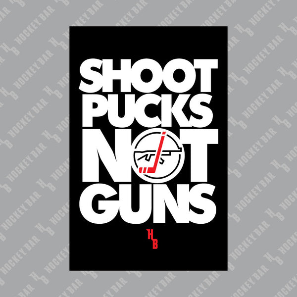 Shoot Pucks Not Guns Sticker