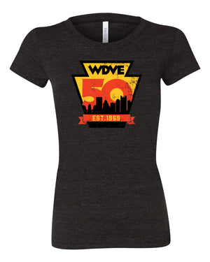 DVE 50TH Distressed Tri-blend FITTED Ladies Tee
