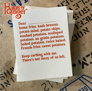 Dear Carbs Card