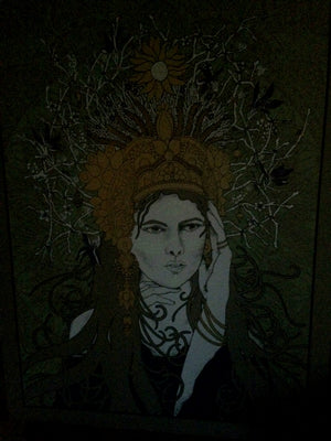Crown Woman Glow In The Dark Art Print