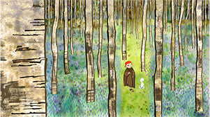 Brendan wanders through the Birch Forest with Panger Bán. The tal... click for more information
