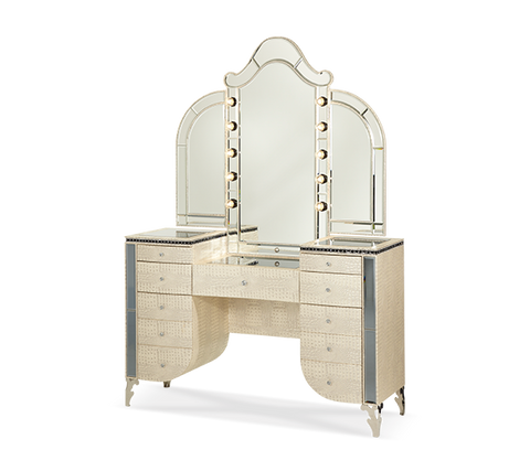 Hollywood Swank Vanity with Mirror - Crystal Croc by Aico