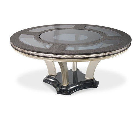 Hollywood Swank Round Pedestal Dining Table - Caviar by Aico