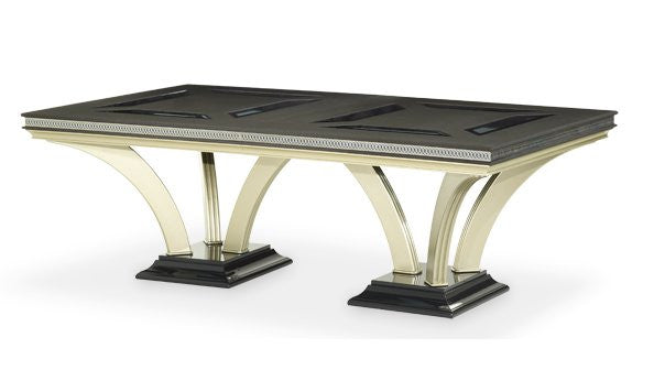 Hollywood Swank Double Pedestal Dining Table - Caviar by Aico