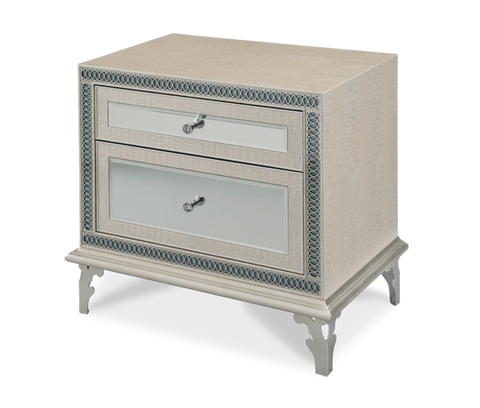 Hollywood Swank Upholstered Nightstand - Crystal Croc by Aico