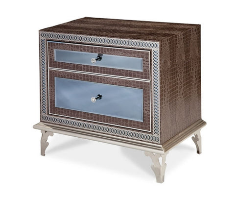 Hollywood Swank Upholstered Nightstand - Amazing Gator by Aico