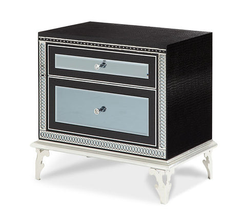 Hollywood Swank Upholstered Nightstand - Black Iguana by Aico