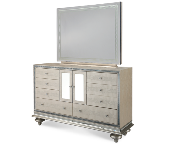 Hollywood Swank Upholstered Dresser w/ Mirror - Crystal Croc by Aico