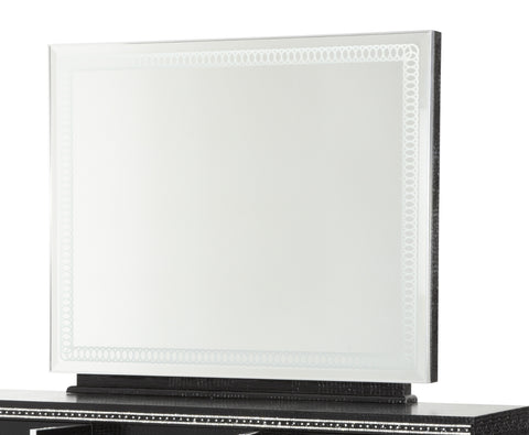 Hollywood Swank Rectangular Dresser Mirror - Black Iguana by Aico