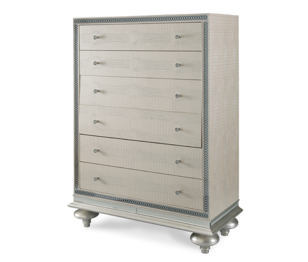 Hollywood Swank Upholstered Chest - Crystal Croc by Aico