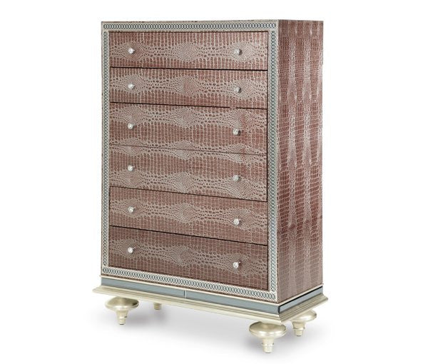 Hollywood Swank Upholstered Chest - Amazing Gator by Aico